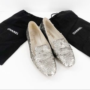 CHANEL   Silver Sequin Loafers Slippers Flats